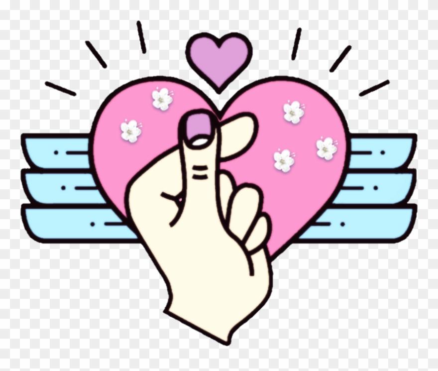 148 1484011 heart finger kpop background decorate finger heart tote