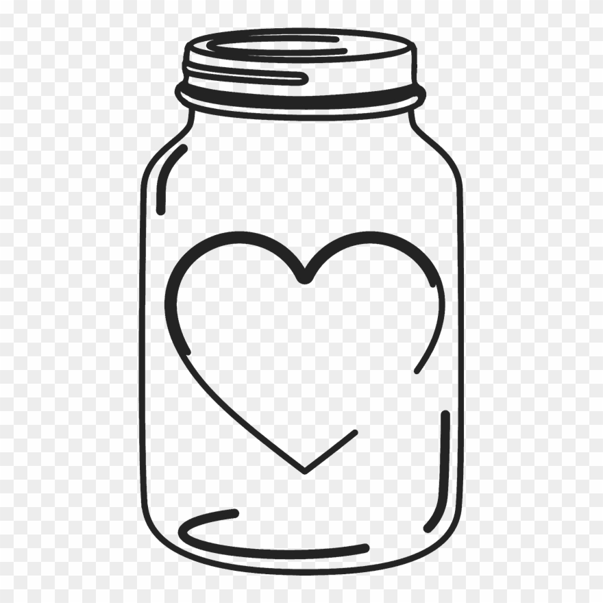Mason jar heart. Rubber stamp with transparent