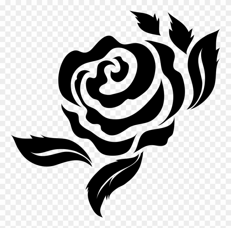 Bold Rose With Leaves Rubber Stamp