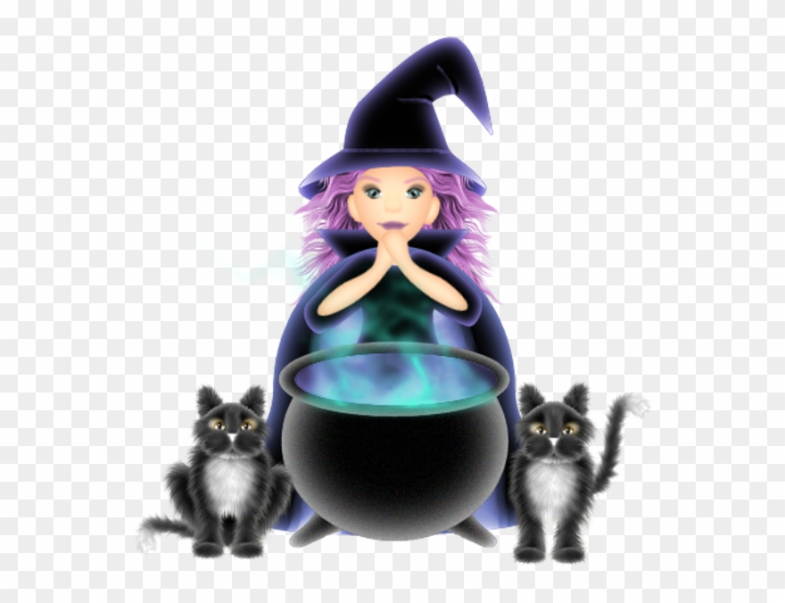 Witch With Cat Halloween Cartoon Clip Art Cute Clip Cartoon Witches And Black Cats Png Download 1517324 Pinclipart