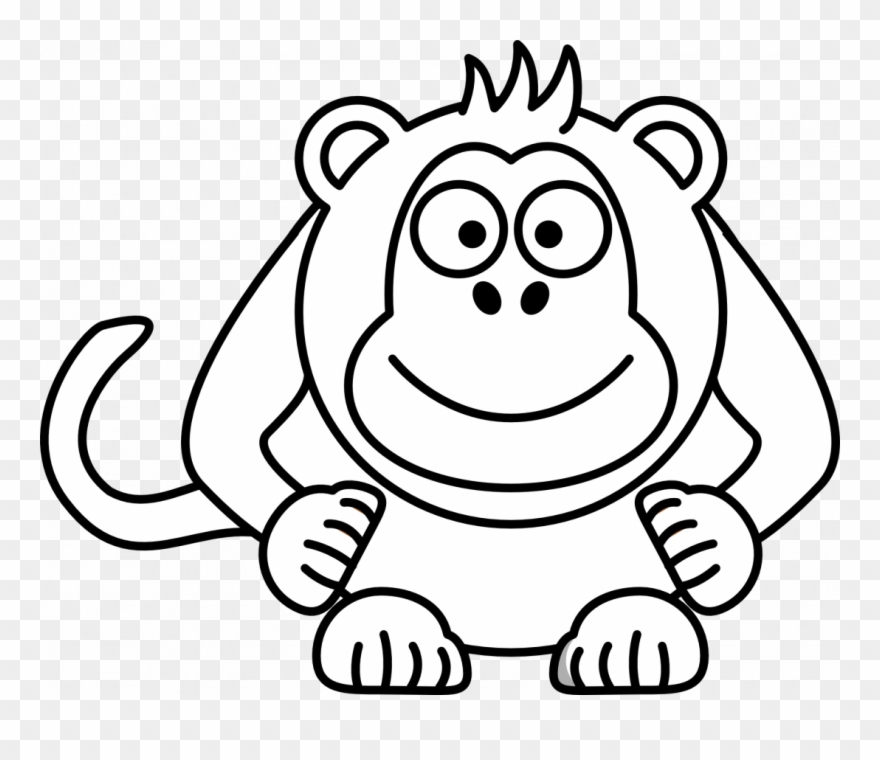 And White Baby Monkey Clip Art Black And White Tiger - White Monkey Black  Background, HD Png Download - 865x1097(#1321702) - PngFind