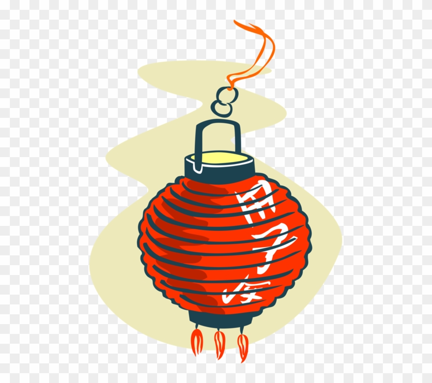 Vector Illustration Of Chinese Asian Paper Lanterns - Japanese Paper Lantern Tattoo Clipart