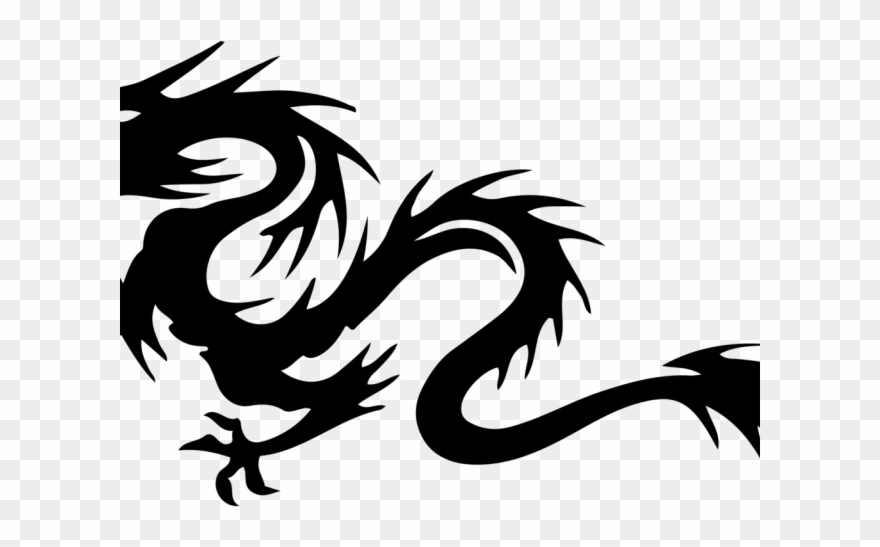 Dragon black. Chinese clipart celtic and