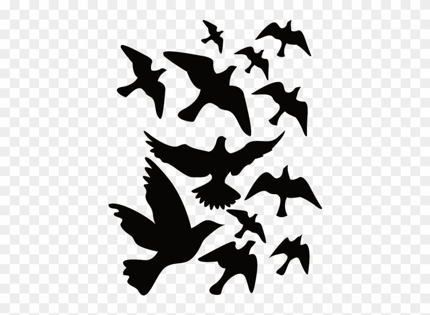 Sticker Nature Oiseaux Nature Black White Stickers Clipart 1581230 Pinclipart