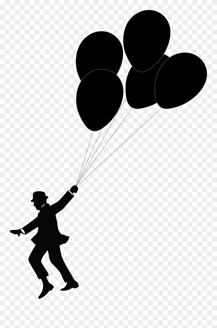 Balloon silhouette. Man holding balloons clipart