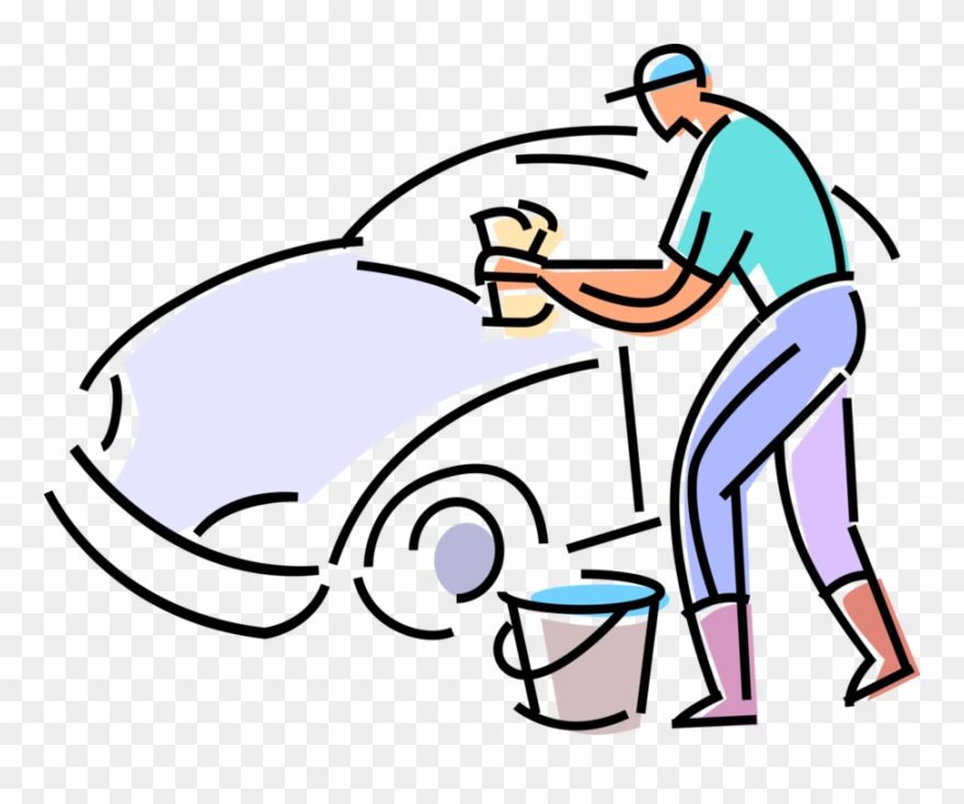 Vector Illustration Of Car Wash Attendant Washes Automobile