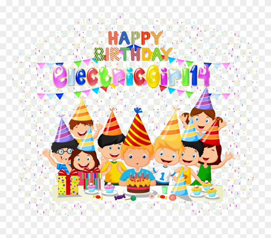 Happy Birthday Electricgirl14 By Creaciones Jean Birthday Party Cartoon Png Clipart 1672790 Pinclipart