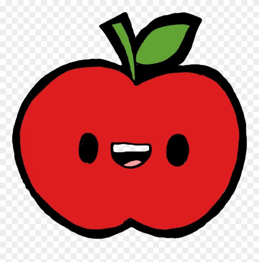 Apple kawaii. Red green fruit tropical