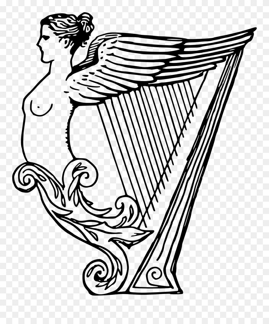 Celtic Harp Drawing Musical Instruments Line Art