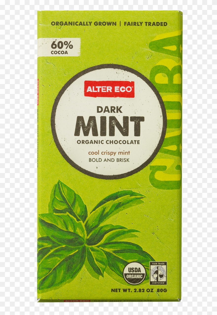 Organic Fair Trade Dark Mint Chocolate Bar, The Cool - Eco Chocolate Clipart