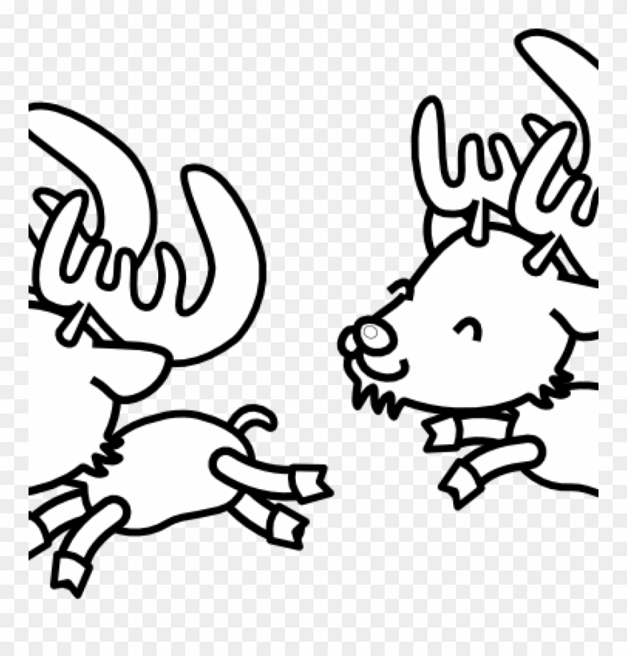Christmas black and white reindeer. Clipart clip art