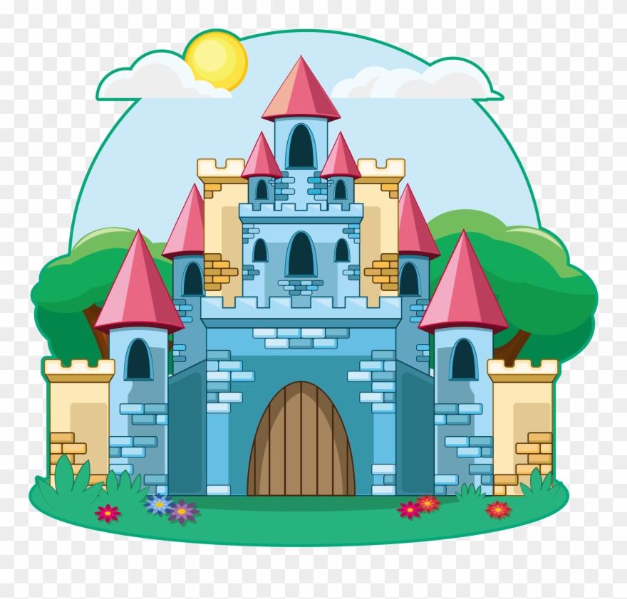 Fairy tail illustration. Drawing tale cartoon castle