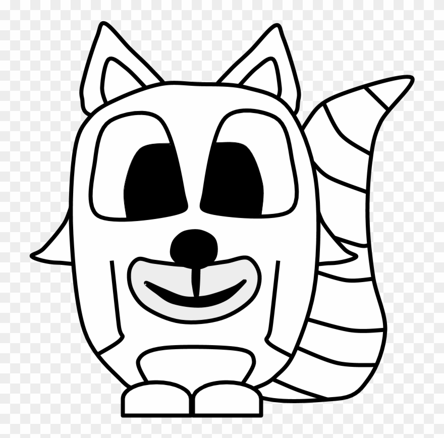 Raccoon Big Eyes Black And White Cartoon Animal