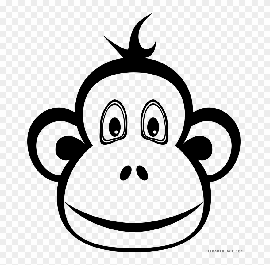 Black And White Monkey Clipart Black And White Clip Art Monkey Png Download 189648 Pinclipart