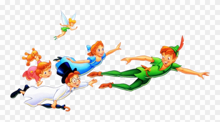 Peter, Wendy, Michael, John, And Tinkerbell - Peter Pan Characters Png Clipart