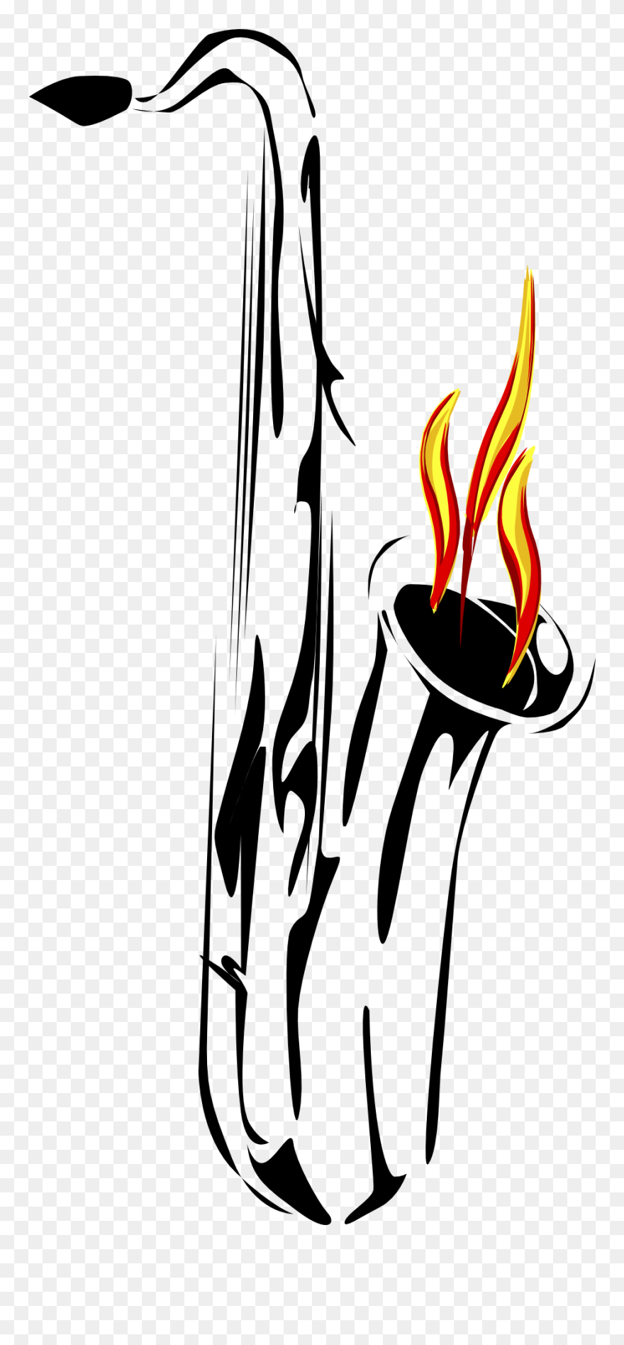 ec730e663 Saxophone Flame Reflection Art Png Image - Saxophone Tattoo Png Clipart