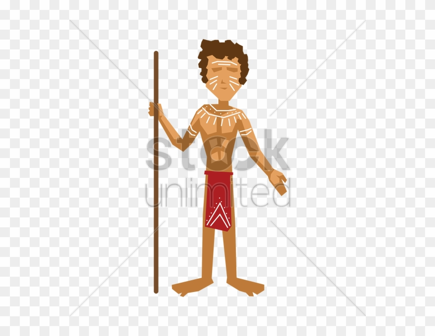 Aboriginal Clipart Transparent - Aboriginal Man Standing Cartoon - Png Download