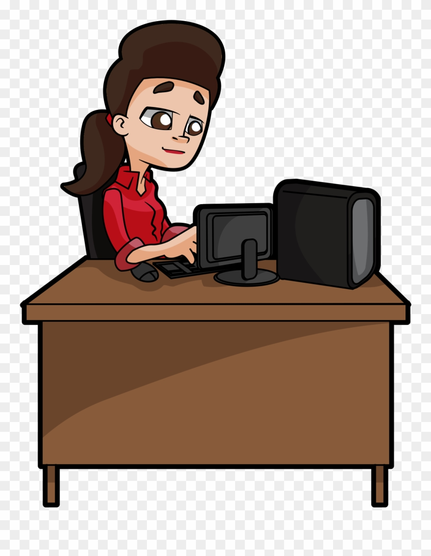 A Woman Sits Deeply Focused At Her Desk Typing At Clipart 1862870 Pinclipart
