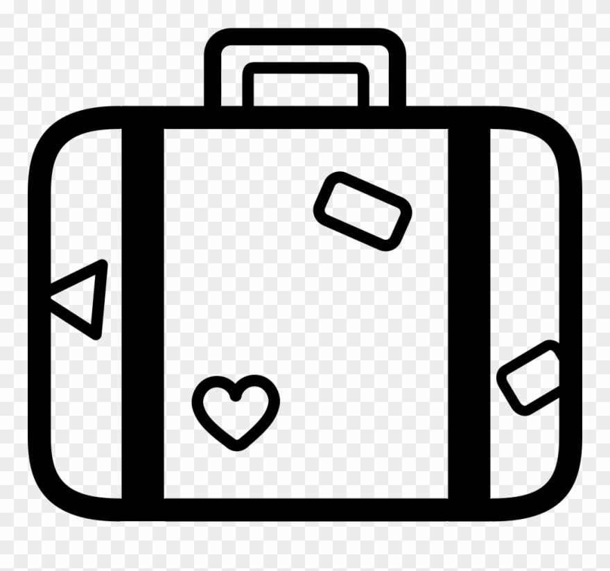 Suitcase For Travelling Baggage Outline Comments , White