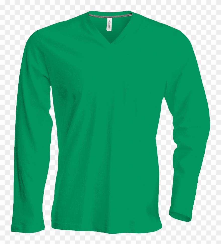 professionnel de premier plan arrive prix spécial pour Tee Shirt Col V Manches Longues Homme - Green Long Sleeve ...