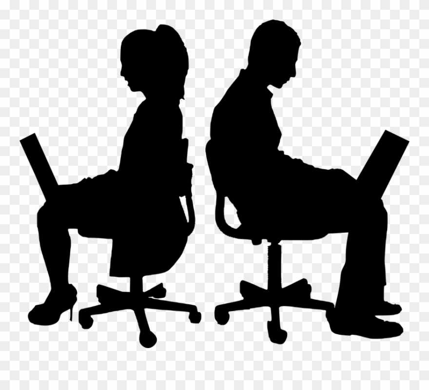 Computer silhouette. Teamwork business isolated