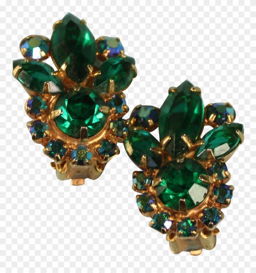 1e24fafbd Vintage Green Rhinestone Clip Earrings Juliana D & - Opal - Png Download