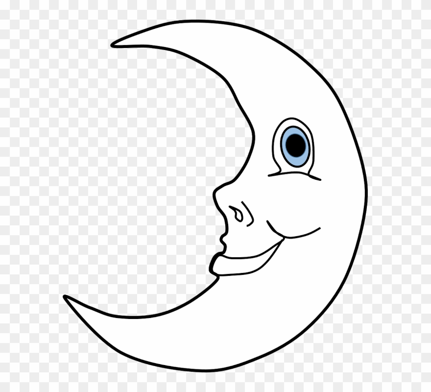 Smiling Moon Clipart Line Art Png Download 20295