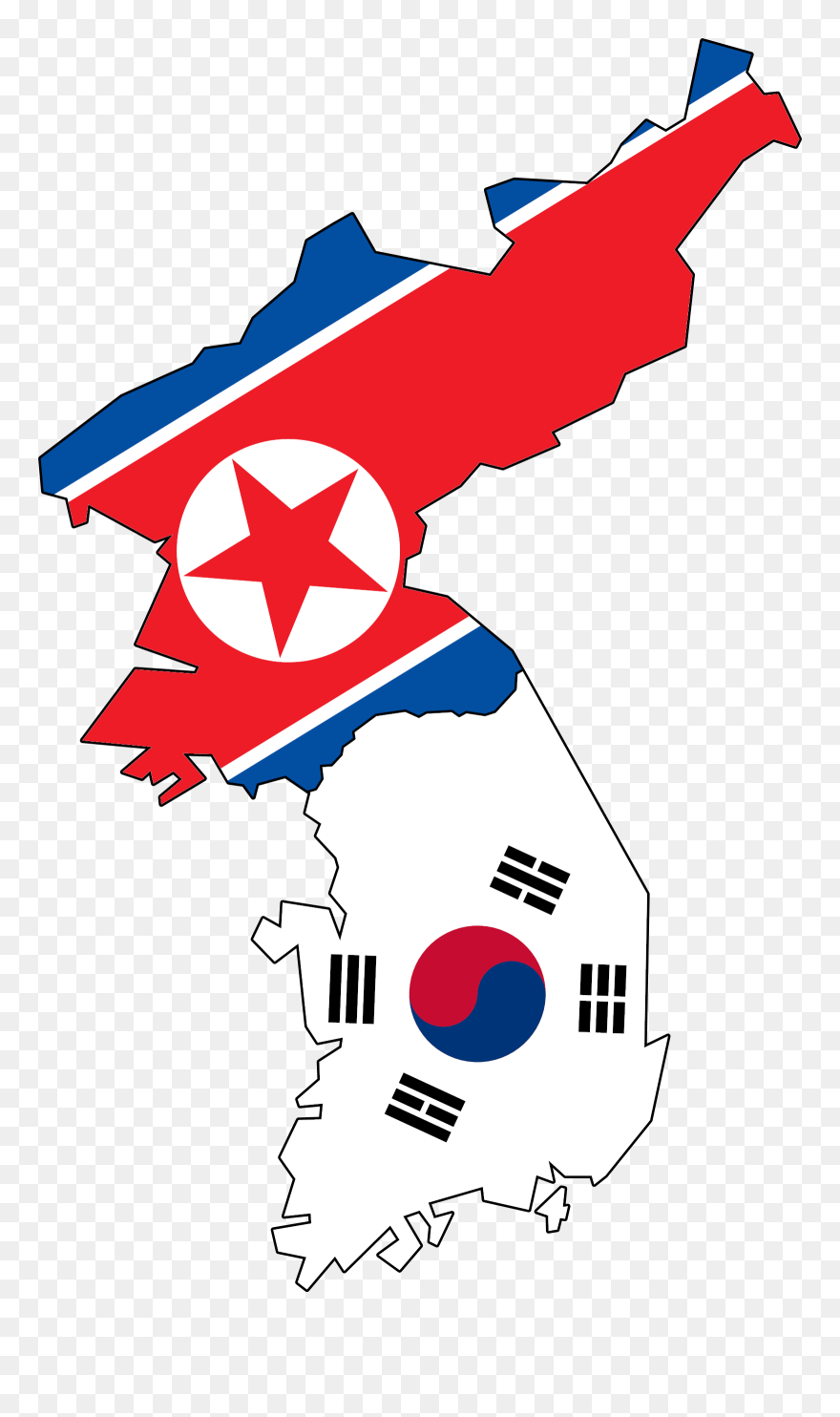 North And South Korea Map Helderateliers - North Korea Flag And ...