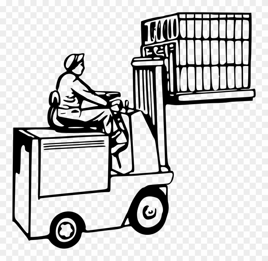 Forklift Operator Drawing Warehouse Pallet
