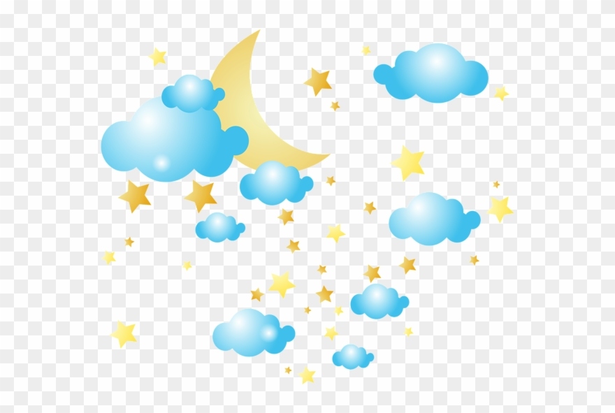 Graphic Transparent Download Moon Clouds And Stars - Moon And Stars Png Clipart