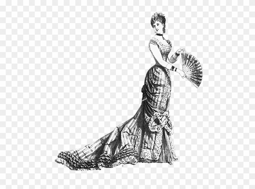 Quality Design A5814 Fa285 Black White Clip Art Edwardian Victorian Lady Transparent Background Png Download 27687 Pinclipart