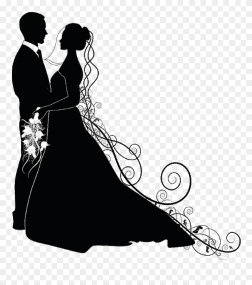 Love Liebe Hochzeit Wedding Silhouette Brautpaar Schwar - Wedding Couple Silhouette Png Clipart