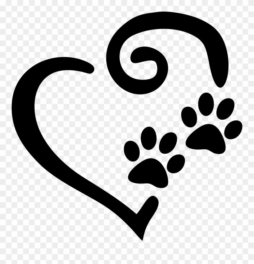 Swirly Heart With Paw Prints Decal Window Sticker - Heart ...