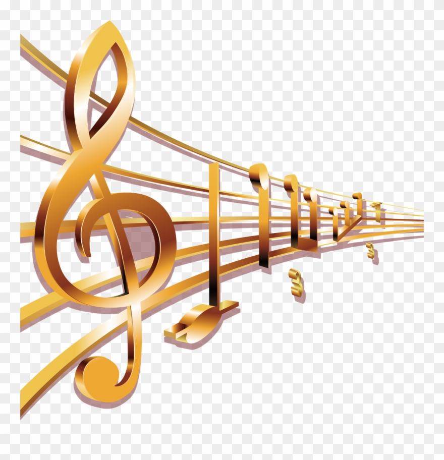 Music notes gold. Musical sheet transprent free