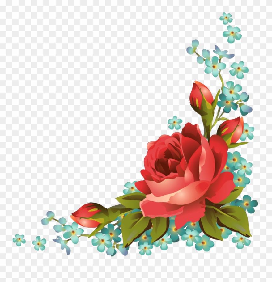 Ftestickers Art Floral Flowers Roses Corner Vintage Red Rose Good