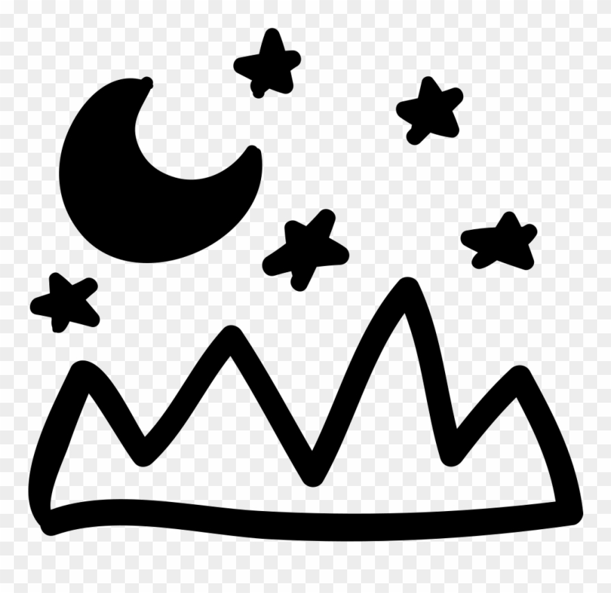Mountains Landscape And Night Sky Hand Drawn View Comments - Hand Drawn Mountain Png Clipart