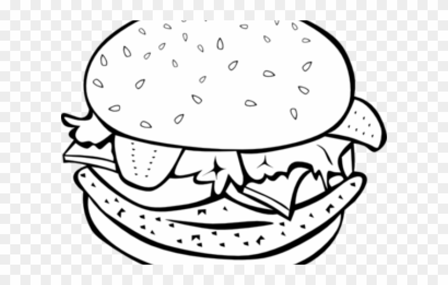Hamburger Clipart Coloring Book - Burger Images For Coloring - Png ...