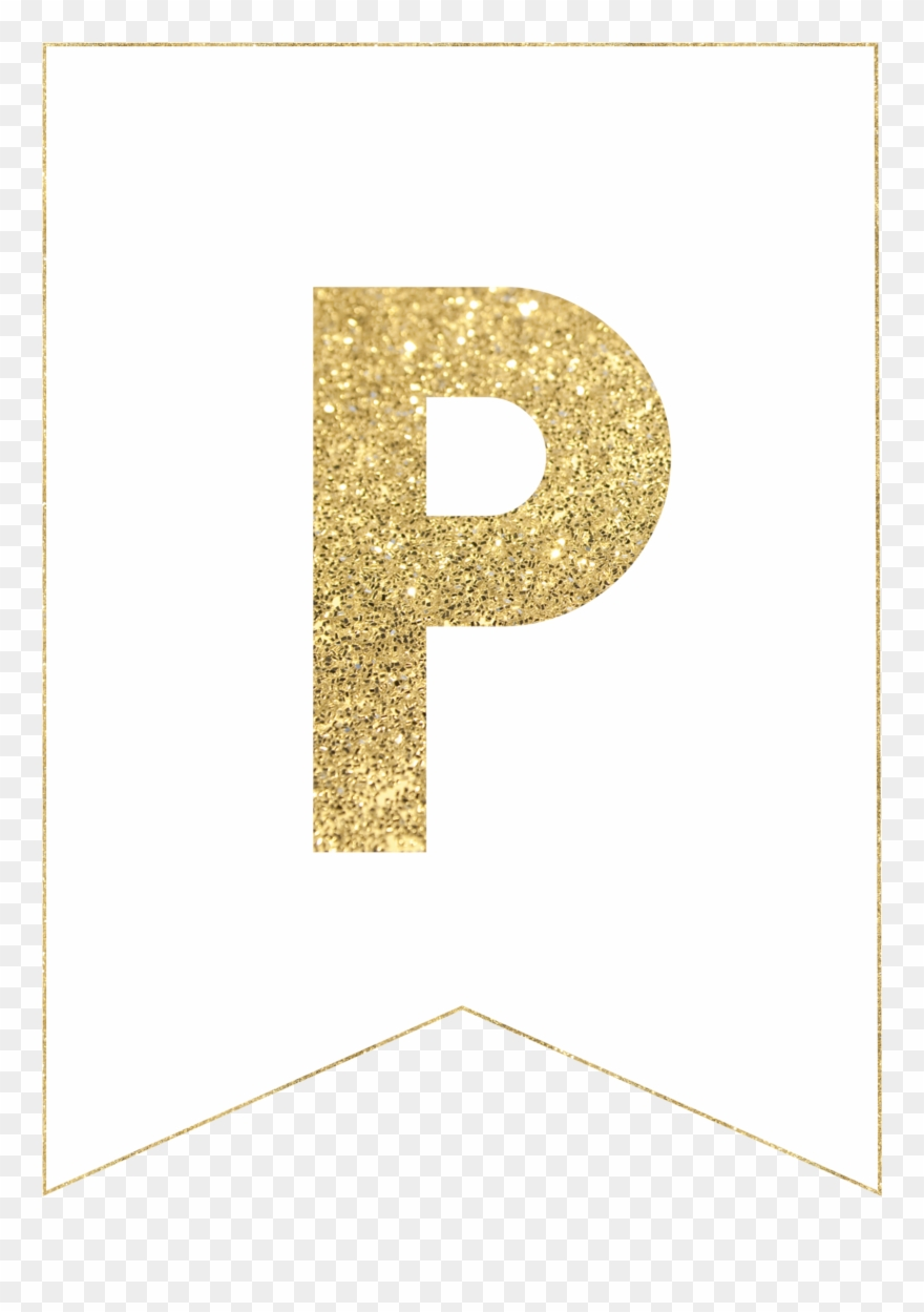 graphic about Printable Letter for Banners titled P Gold Alphabet Banner Letter - Gold Letter Banner Printable