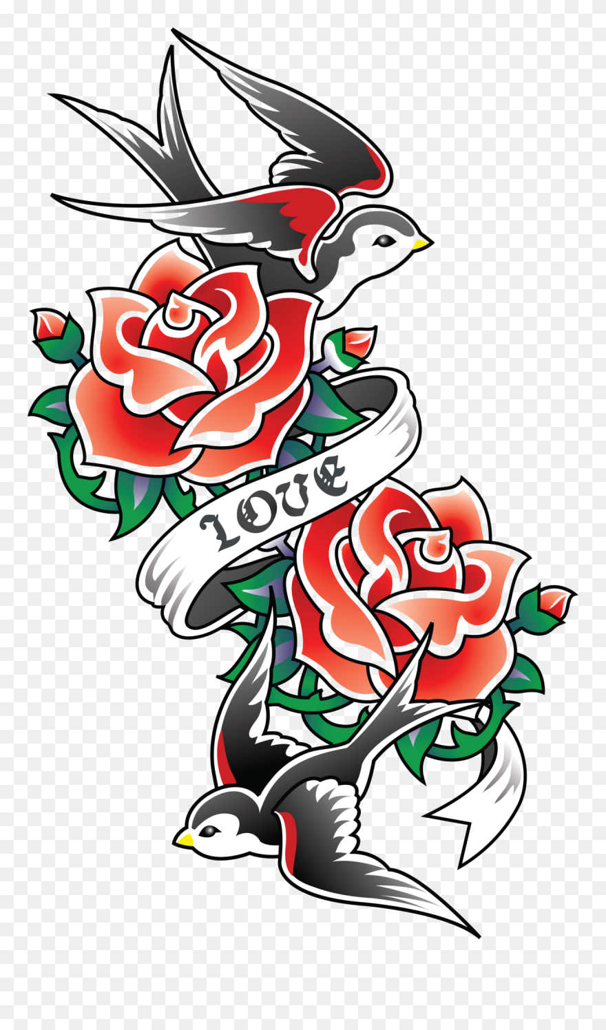 Mq Red Rose Bird Swallow Tattoo Old School Rose Tattoos Clipart