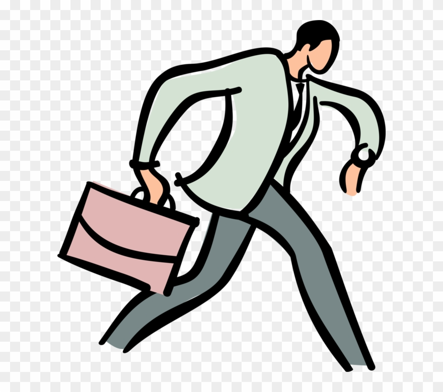Vector Illustration Of Businessman Running Late For Clipart