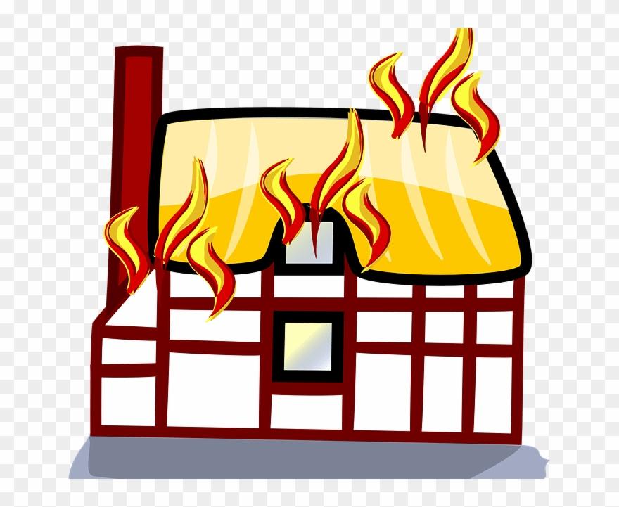 Fire building. Bridge clipart on cartoon