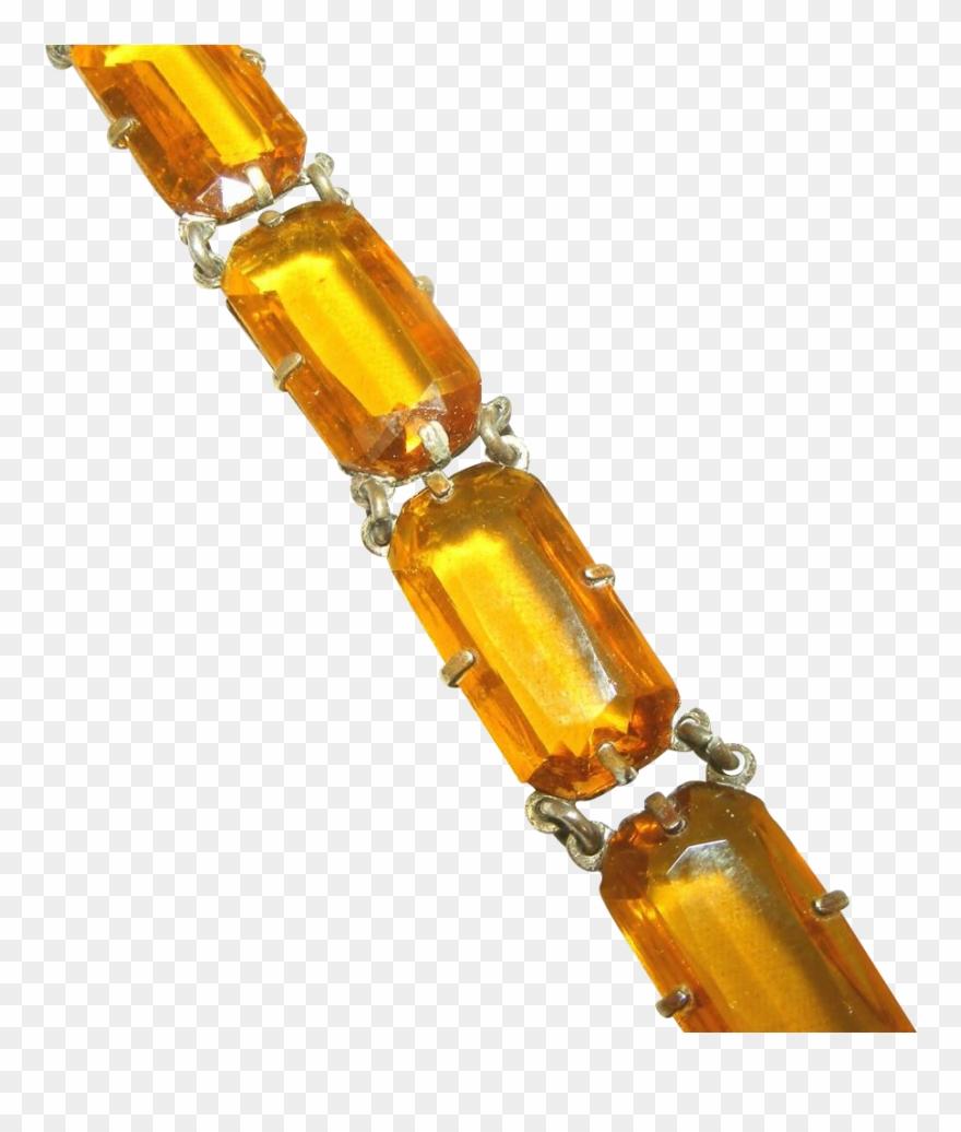 Open back. Golden amber glass rectangular