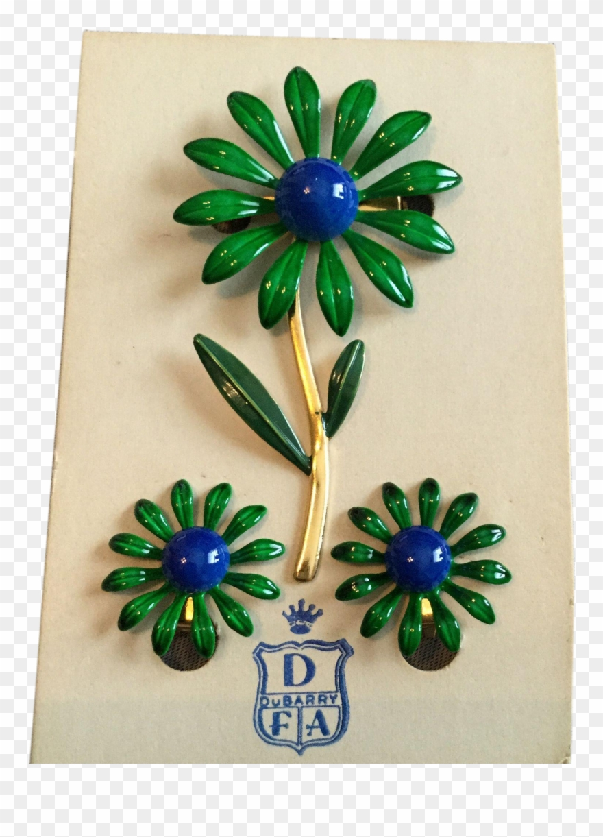 Vintage Dubarry Green And Blue Enamel Daisy Pin And Clipart
