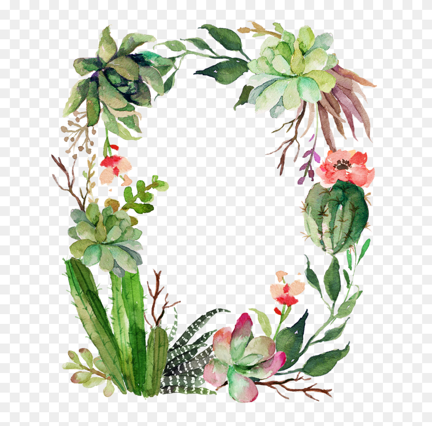 Cactus Clipart, Floral Wreath, Green Garland, Birthday - Isaiah 43 19 - Png Download