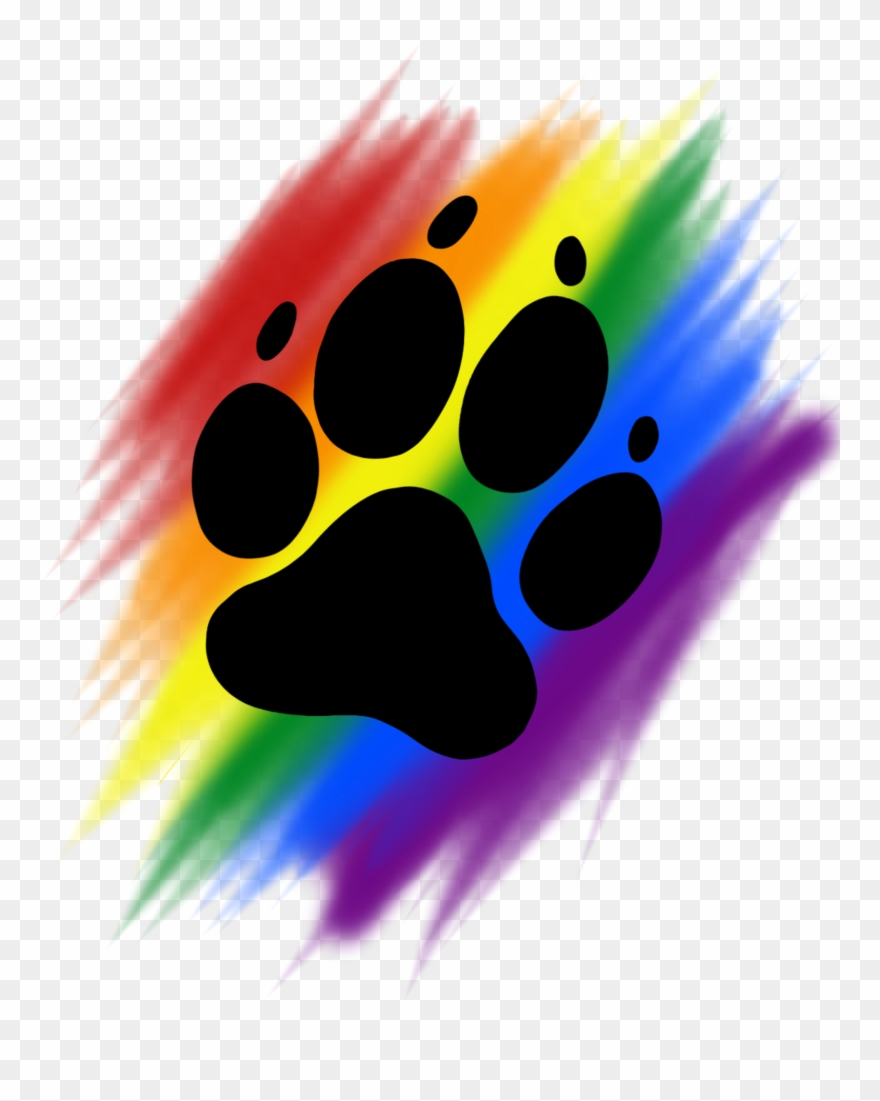 Paw print rainbow. Brush png download clipart
