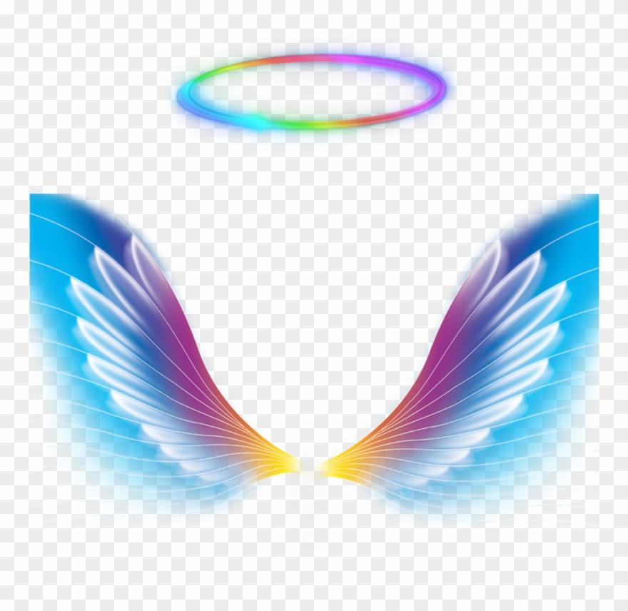 Galaxy colorful. Angel wings halo rainbow