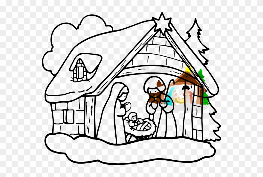 Christmas Pictures To Draw.Manger House Clip Art Christmas Crib Drawing Easy Png