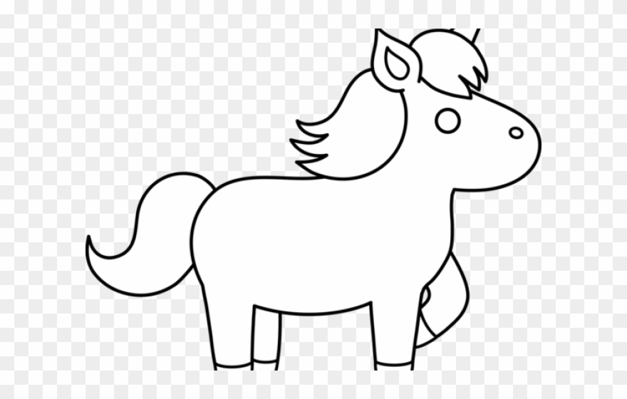 Unicorn outline. Clipart black and white