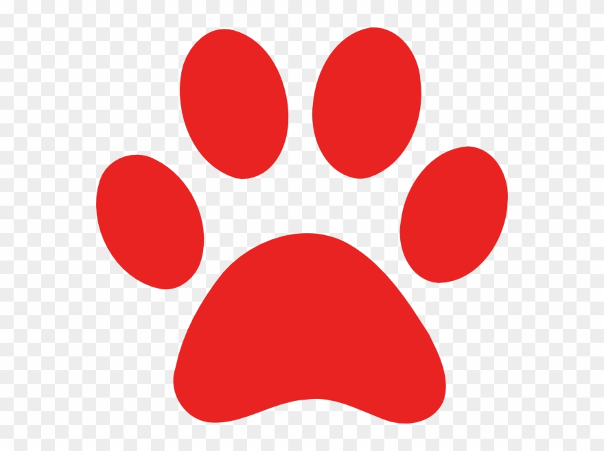 Paw print red. Clip art dog png