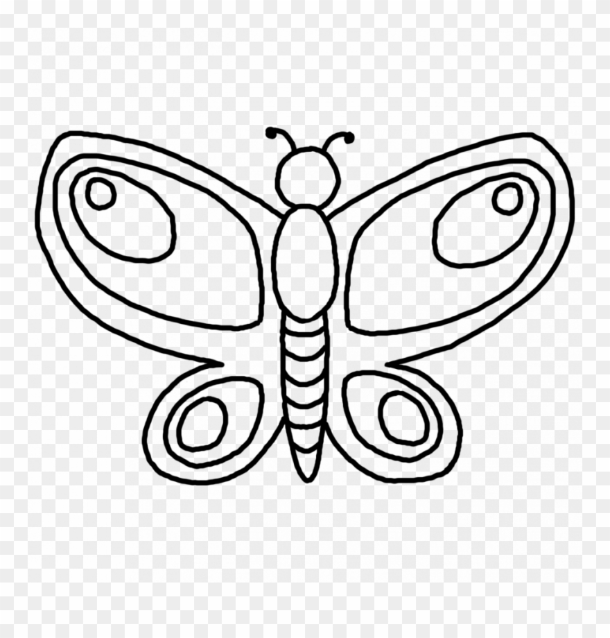 Butterfly outline pattern. Printable coloring pages clipart